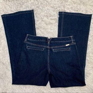 WHBM Blanc Mid Rise Trouser Leg Dark Wash Jean 8S